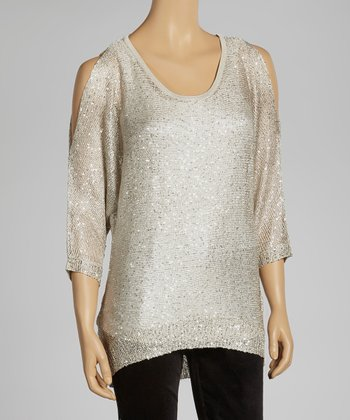 Sand Sparkle Cutout Sweater