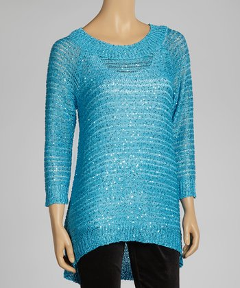 Aqua Sparkle Ribbed Sweater