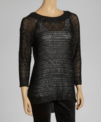 Black Sparkle Ribbed Sweater