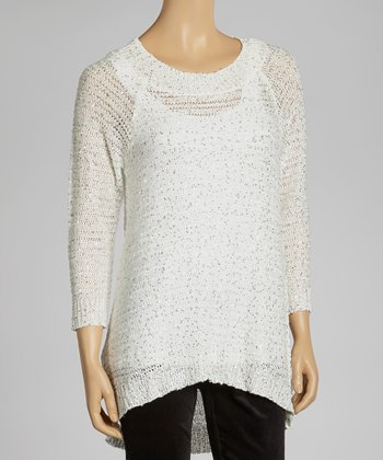 Ivory Sparkle Ribbed Sweater