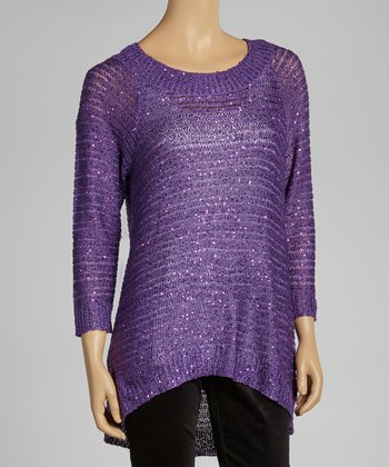 Purple Sparkle Ribbed Sweater