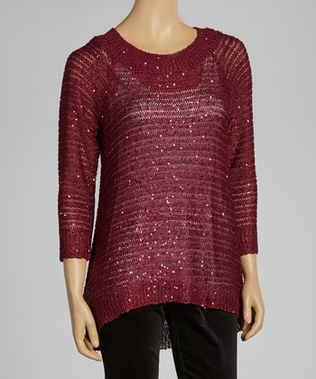 Wine Sparkle Ribbed Sweater