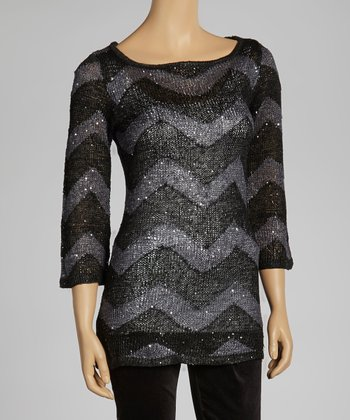 Black & Gray Zigzag Sparkle Sweater