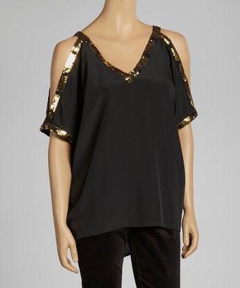 Black Gold Sequin Cutout Top