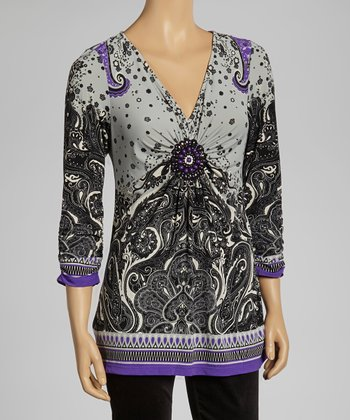 Purple & Gray V-Neck Tunic