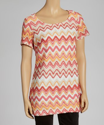 Pink & Orange Wave Zipper Top