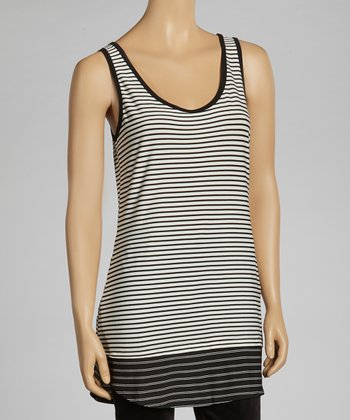 Ivory & Black Stripe Tank