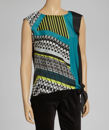 Black & Teal Sleeveless Top