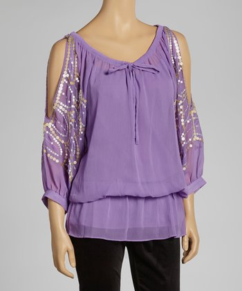Hyacinth Sequin Cutout Top