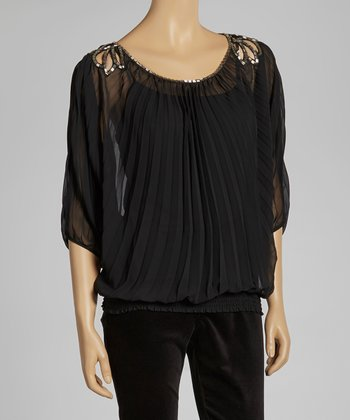 Black Sheer Pleated Top