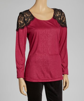 Gray & Fuchsia Lace Top
