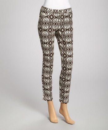 Ivory & Brown Geometric Pants