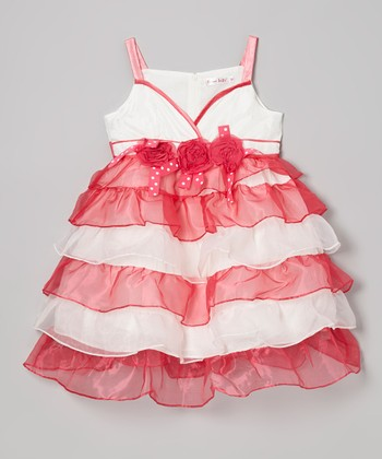 Red & White Tiered Dress - Toddler & Girls