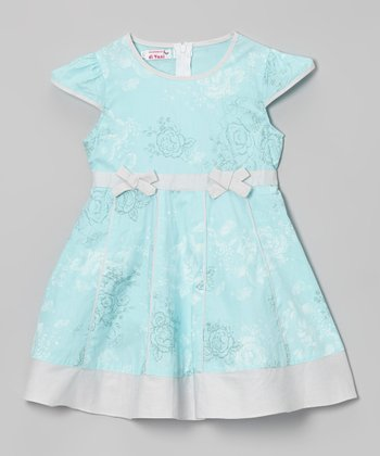 Blue & Gray Floral Dress - Toddler & Girls