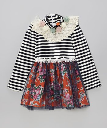 Navy Stripe Floral Dress - Toddler & Girls