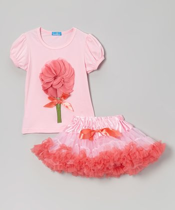 Pink & Red Flower Top & Tulle Pettiskirt - Infant, Toddler & Girls