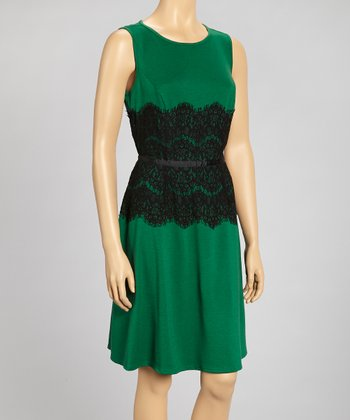 Green & Black Lace Waist Sheath Dress