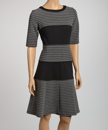 Heather Gray & Black Stripe A-Line Dress