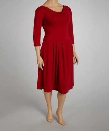 Red Three-Quarter Sleeve Dress - Plus