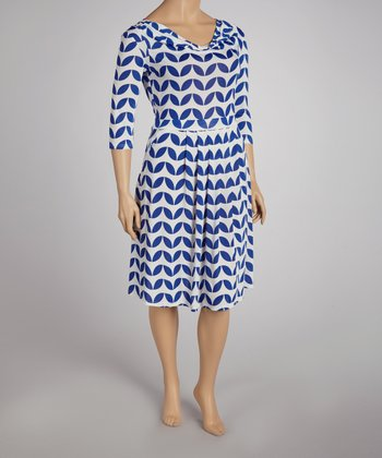 Blue & White Retro Drape Neck Dress - Plus