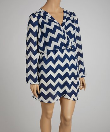 Navy Zigzag Surplice Dress - Plus