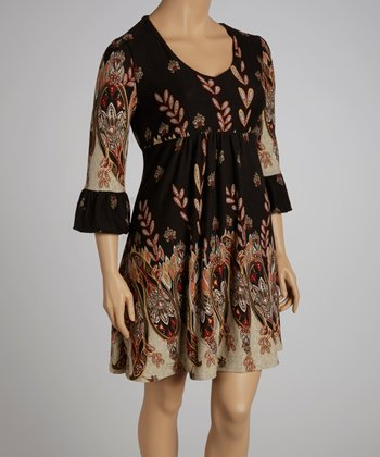 Brown Paisley Dress - Plus