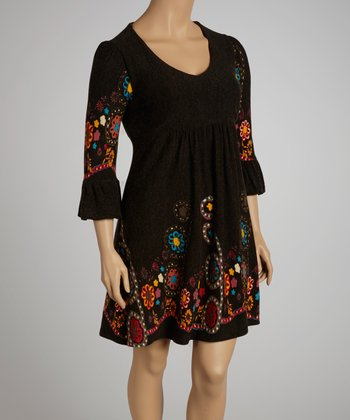 Charcoal Floral V-Neck Dress - Plus