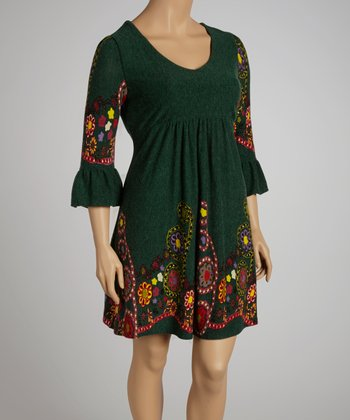 Green Floral V-Neck Dress - Plus