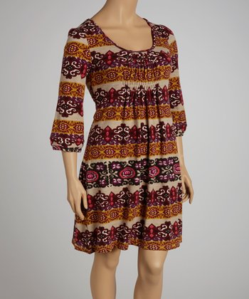 Brown Filigree Dress - Plus