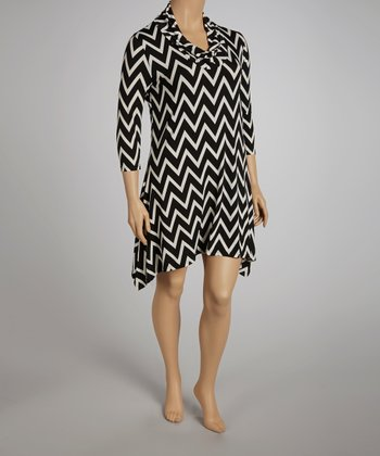 Black Zigzag Dress - Plus
