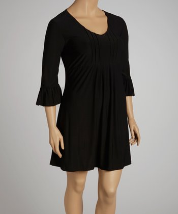Black Ruffle Three-Quarter Sleeve Dress - Plus
