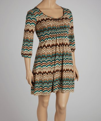 Teal & Beige Zigzag Dress - Plus