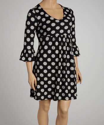 Black & Gray Polka Dot Dress - Plus