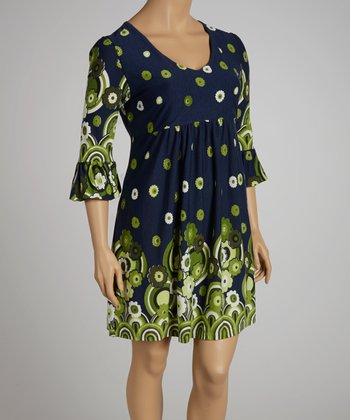 Navy & Green Floral Dress - Plus