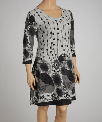 Gray Floral Dress - Plus