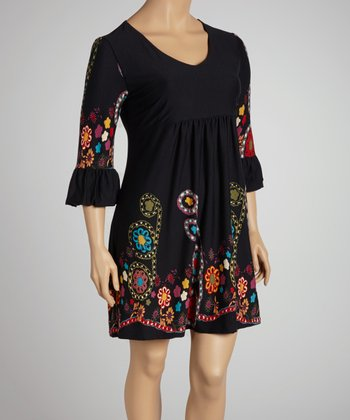 Black Floral V-Neck Dress - Plus