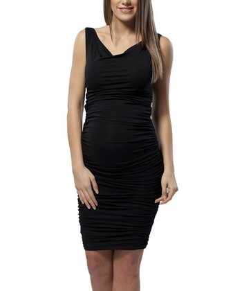 Black Ruched Maternity Cowl Neck Dress