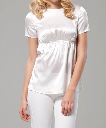 White Stretch Silk-Blend Maternity Top