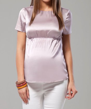 Rose Stretch Silk-Blend Maternity Top