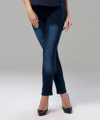 Blue Under-Belly Maternity Skinny Jeans
