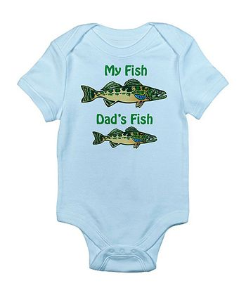 Sky Blue 'My Fish, Dad's Fish' Bodysuit - Infant