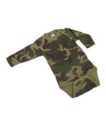 Green Camo Long-Sleeve Bodysuit - Infant