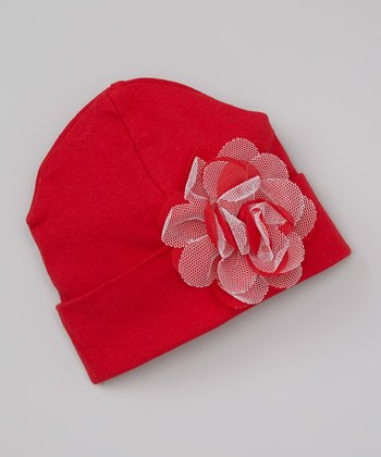 Red Tulle Flower Beanie