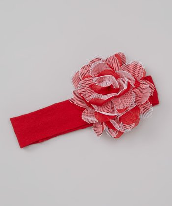 Red Tulle Flower Headband