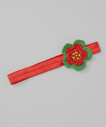 Red & Green Gem Flower Headband