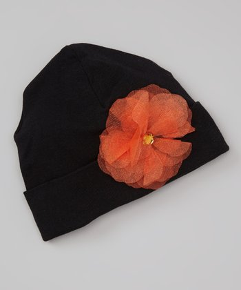 Black & Orange Tulle Gem Flower Beanie