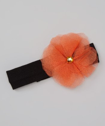 Black & Orange Tulle Gem Flower Headband