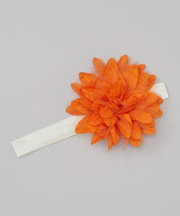 Ivory & Orange Tulle Flower Headband
