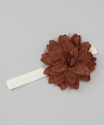 Ivory & Brown Tulle Flower Headband