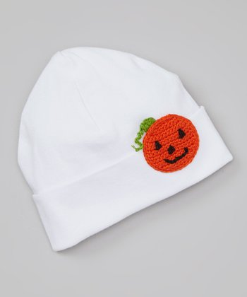 White & Orange Pumpkin Beanie